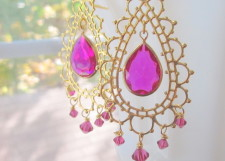 Hot Pink Bollywood Lace Earrings