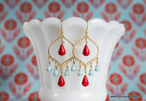Turquoise Red Earrings 3