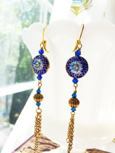 Cloisonne tassel earrings